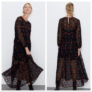 Zara Oversized Lace Embroidered Midi Floral Dress